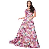 KOH KOH Womens Long Sexy V Neck Floral Printed Cap Sleeve Maxi Dress