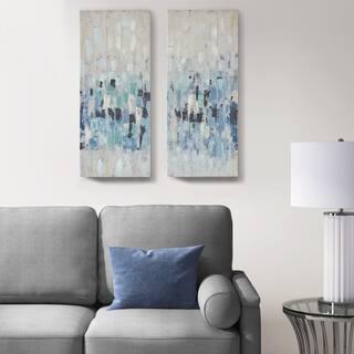 Madison Park Blue Impression Blue Hand Embellished 2 Piece Canvas Set