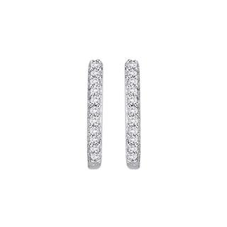 10K White Gold 1/10ct TDW Diamond Huggie Earrings (G-H, I2-I3)