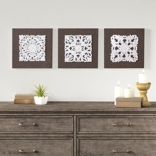 Madison Park White Mandala Trinity White/ Brown 3D Embellished Linen Canvas 3 Piece Wall Art - White/Brown
