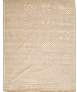 Nourison Hand-knotted Silk and Wool Gold Rug (7'9 x 9'9)