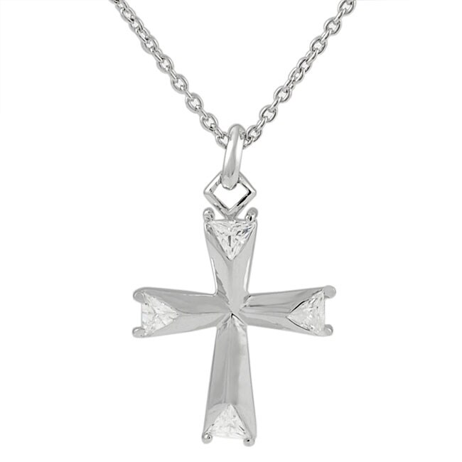 Journee Sterling Silver Cross Pendant with Trillion-cut CZ