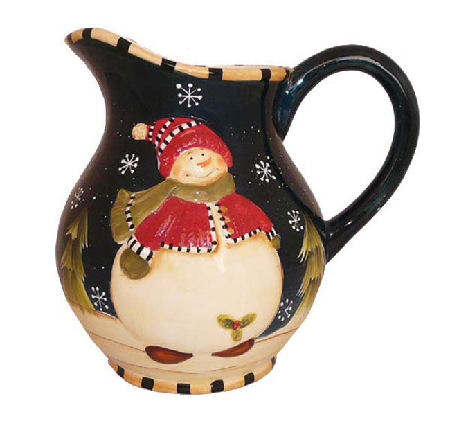 Snowman Delight Hand-painted Water Pitcher