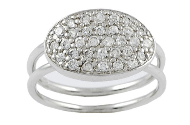 Journee Collection  Sterling Silver Oval Shape CZ Ring