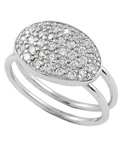 Journee Collection  Sterling Silver Oval Shape CZ Ring - Thumbnail 1