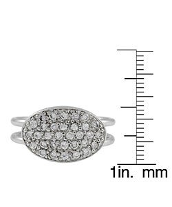 Journee Collection  Sterling Silver Oval Shape CZ Ring - Thumbnail 2