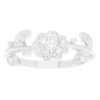 Sterling Silver Cubic Zirconia Flower Emblem Ring