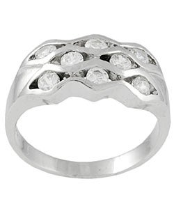 Journee Collection  Sterling Silver Wave Cubic Zirconia Ring