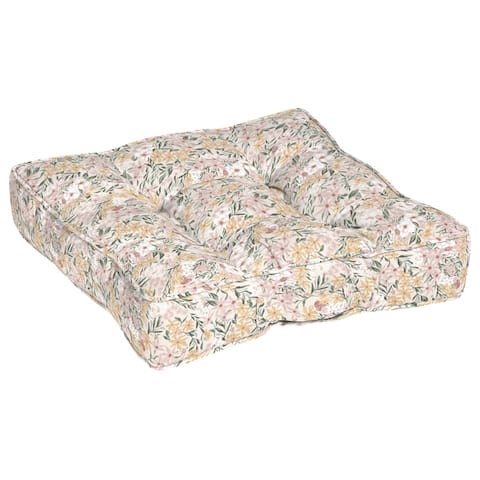 Arden + Artisans Opus Floral Circle Sew Floor Cushion With Handle - 25 in L x 25 in W x 6 in H