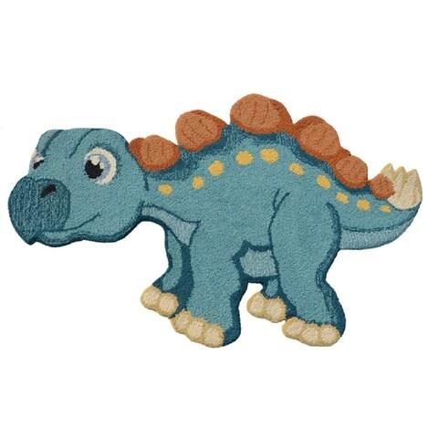 2'6x4 Kids Blue Dino Hand Tufted Wool Rug