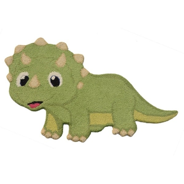 2'6x4 Kids Green Dino Hand Tufted Wool Rug