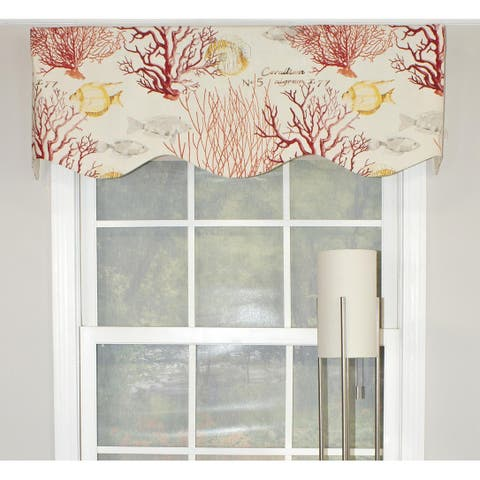 """RLF Home Corales Provance 50"""" Window Valance - Red"""