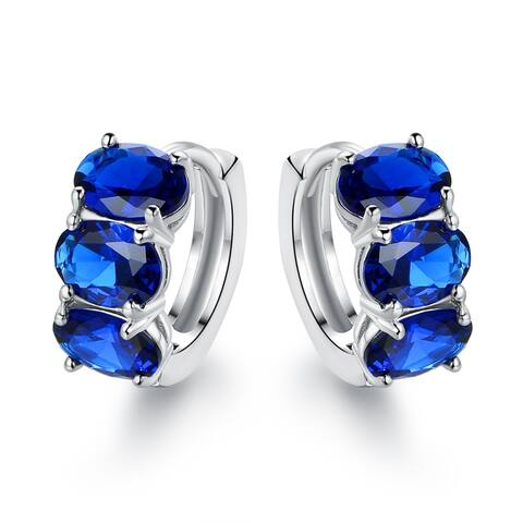 Rhodium Plated Lab Created Sapphire Hoop Earrings