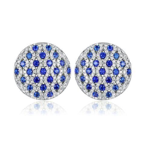 Rhodium Plated Lab Created Sapphire Stud Earrings
