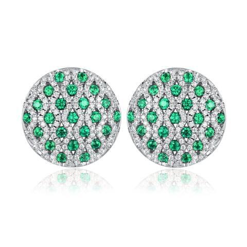 Rhodium Plated Lab Created Emerald Stud Earrings
