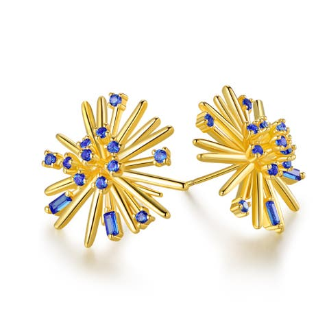 Gold Plated Lab Created Sapphire Flower Stud Earrings