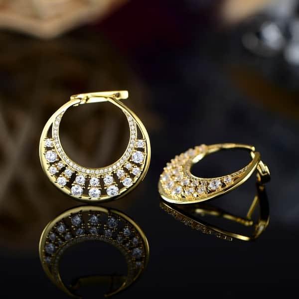 Yellow Gold Plated Swarovski Crystal Hoop Earrings