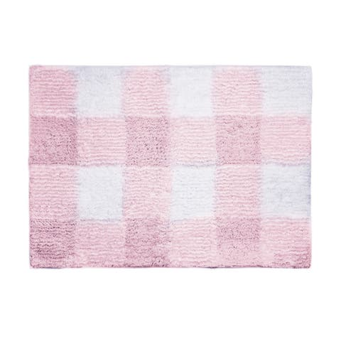 "Posh Home Woven Gingham Machine Washable Water Non Slip Absorbent Soft Bath Rug 17""x24"""