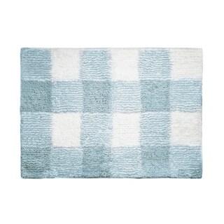 "Posh Home Woven Gingham Machine Washable Water Non Slip Absorbent Soft Bath Rug 17""x24"""