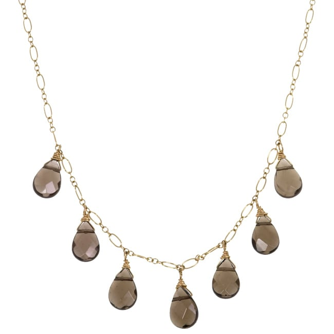 Lola's Jewelry 14k Goldfill Smokey Quartz Teardrop Necklace