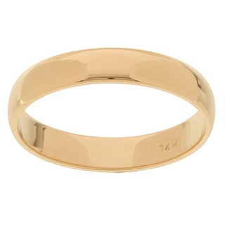 14k Yellow Gold Men's Half-round 4-mm Wedding Band