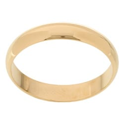10k Yellow Gold Men's Half-round 4-mm Wedding Band