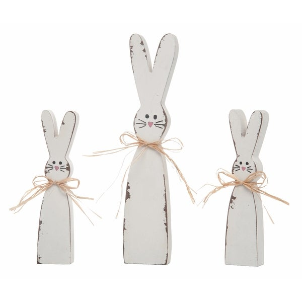Transpac Metal White Easter Shabby Chic Bunny Decor Set of 3