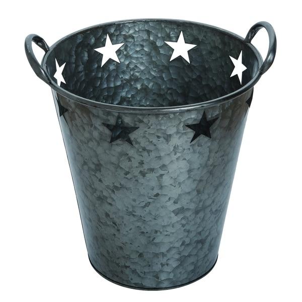 Transpac Metal Large Pewter 4th of July Star Bucket