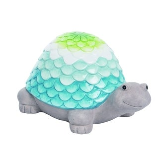 Transpac Terracotta  Multicolor Spring Glazed Ombre Shell Turtle Garden Decor