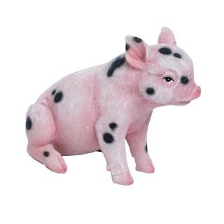 Transpac Resin  Pink Spring Sweet Sitting Pig Figurine