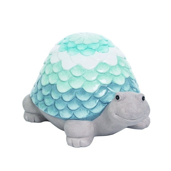 Transpac Terracotta Blue Spring Glazed Ombre Shell Turtle Garden Decor