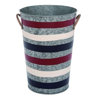 Transpac Metal  Silver 4th of July Patriotic Bucket