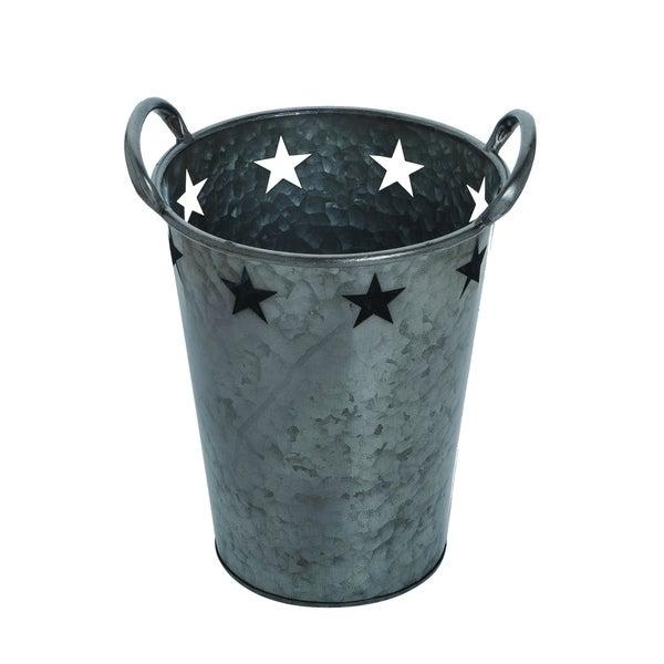 Transpac Metal Medium Pewter 4th of July Star Bucket