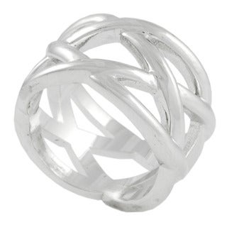 Journee Collection Sterling Silver Criss-cross Ring