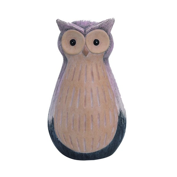 Transpac Terracotta Medium Multicolor Spring Glazed Owl Garden Statuette