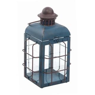 Transpac Metal Medium Blue Spring Vintage Lantern