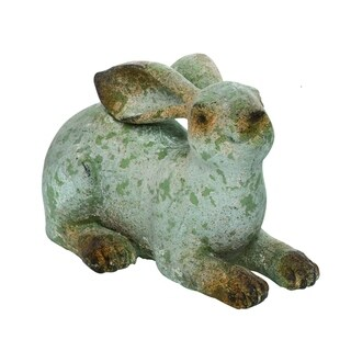 Transpac Resin Small Gray Easter Rustic Laying Bunny Statuette