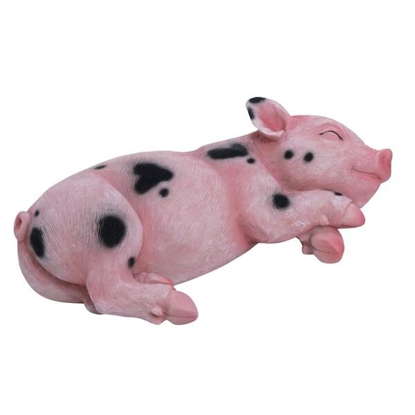 Transpac Resin Pink Spring Sweet Laying Pig Figurine