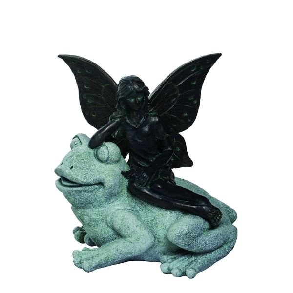 Transpac Resin Gray Spring Enchanted Garden Fairy on Frog Statuette