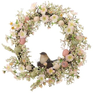 Transpac Foam  Multicolor Easter Faux Berry and Flower with Bird Wreath