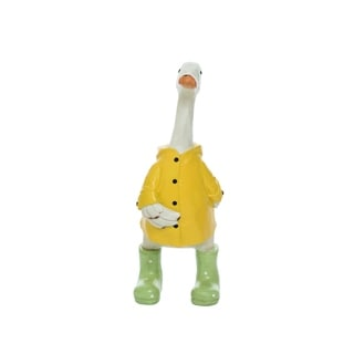 Transpac Resin Large Yellow Spring Duck with Raincoat and Boots Statuette