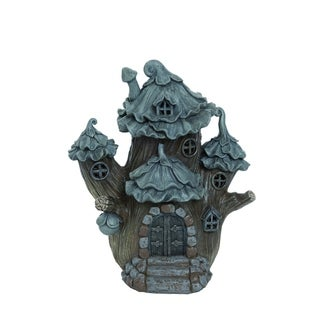 Transpac Resin  Brown Spring Enchanted Garden Whimsical Fairy House Statuette