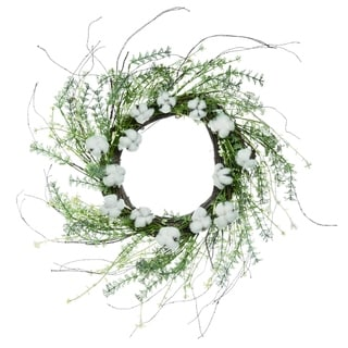 """Transpac Plastic 22"""" White Spring Cotton with Greenery Wreath"""