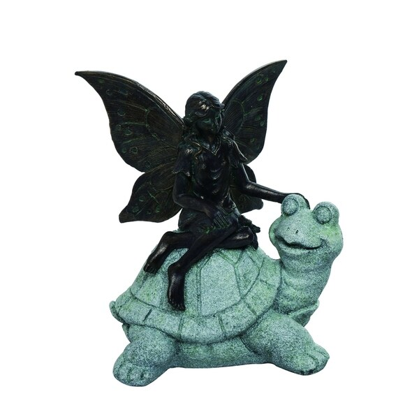 Transpac Resin Gray Spring Enchanted Garden Fairy on Turtle Statuette
