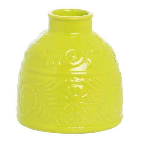 Transpac Ceramic Small Yellow Spring Etched Vase Decor