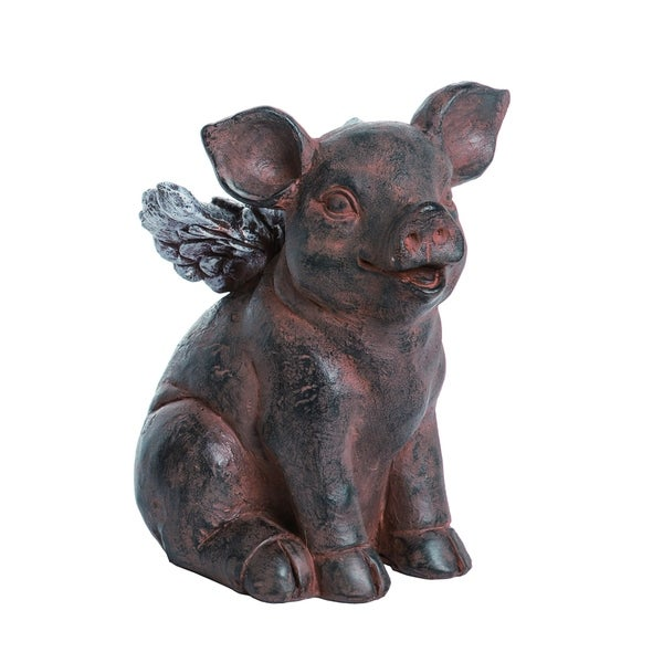 Transpac Resin Medium Gray Spring Pig with Wings Statuette