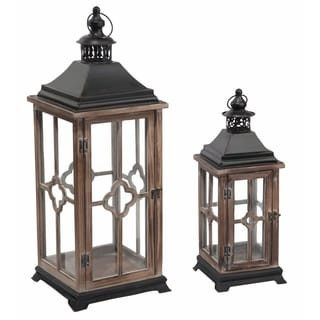 Transpac Wood  Brown Spring Traditional Lantern Set of 2