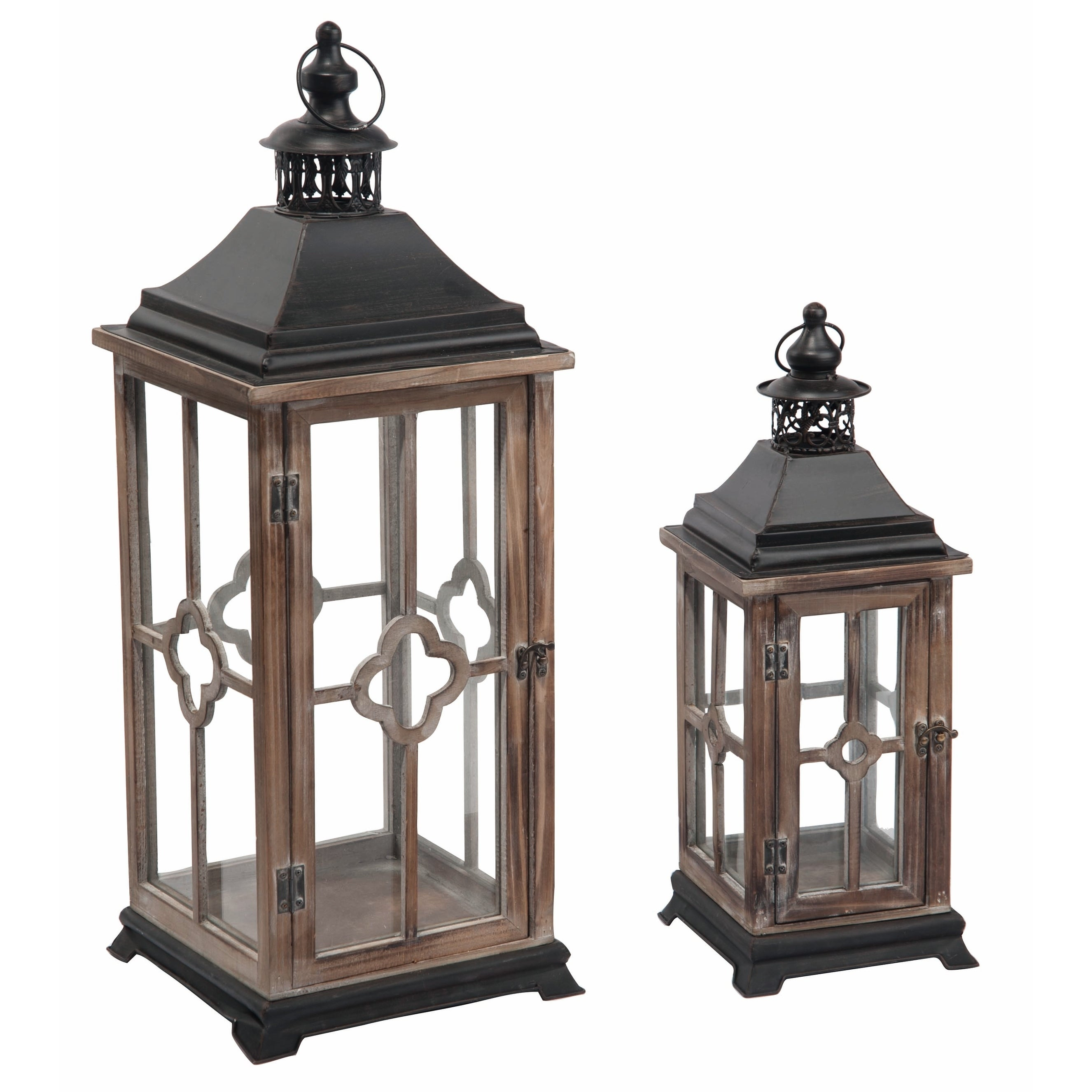 Transpac Wood Brown Spring Traditional Lantern Set Of 2 Overstock 26632377