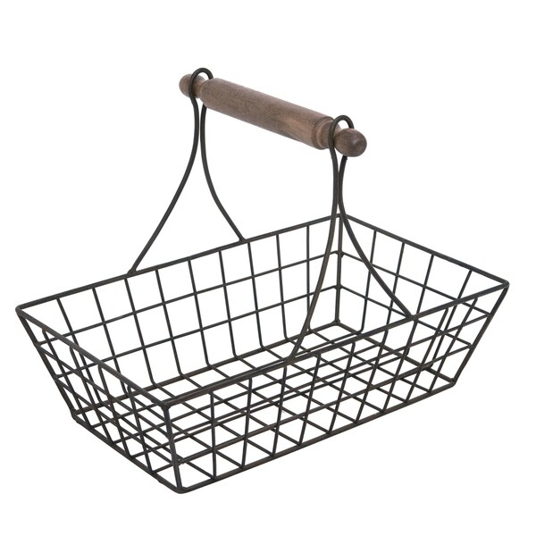 Transpac Wood Black Spring Traditional Catchall Basket