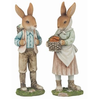 Transpac Resin  Brown Easter Traditional Bunny Farmer Couple Decor Set of 2
